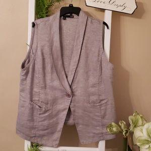 Metallic thread Linen Eileen Fisher Vest